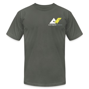 Anyman Fitness Men's Grey Small Logo Tee - Men's T-Shirt by American Apparel