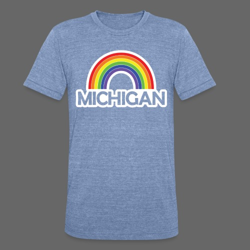 Kelly's Michigan Rainbow Shirt - Unisex Tri-Blend T-Shirt by American Apparel