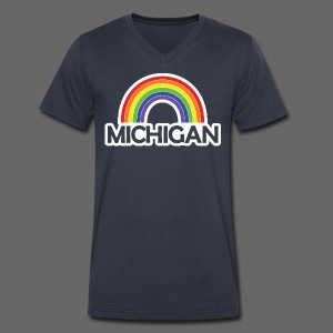 Kelly's Michigan Rainbow Shirt - Men's V-Neck T-Shirt by Canvas