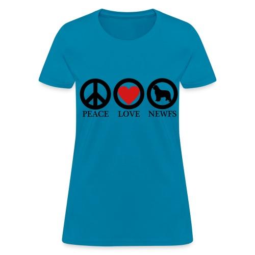 Peace Love Newfoundlands BLK (W) - Women's T-Shirt