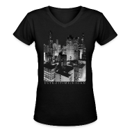 Women's T-Shirts ~ Women's V-Neck T-Shirt ~ Old Detroit Pic