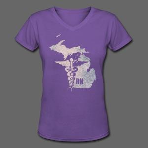 Michigan RN - Women's V-Neck T-Shirt