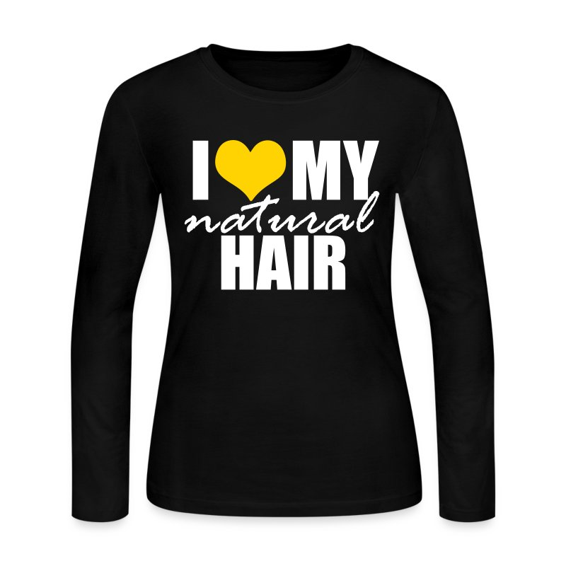 Yellow Long Sleeve I Love My Natural Hair T-shirt - Women's Long Sleeve Jersey T-Shirt