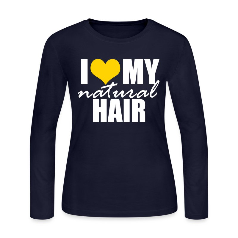 Navy Yellow Heart Love My Natural Hair Long Sleeve T-shirt - Women's Long Sleeve Jersey T-Shirt