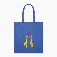 Funny & Cute Giraffes Couple in Love (Heart) Bags & backpacks