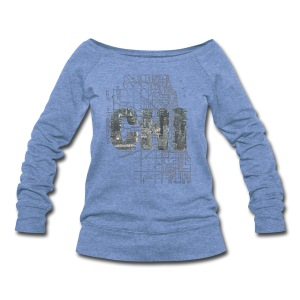 Chicago Sky Map - Women's Wideneck Sweatshirt