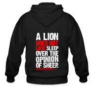 Zip Hoodies & Jackets ~ Men's Zip Hoodie ~ A lion does not lose sleep | Mens Zipper hoodie