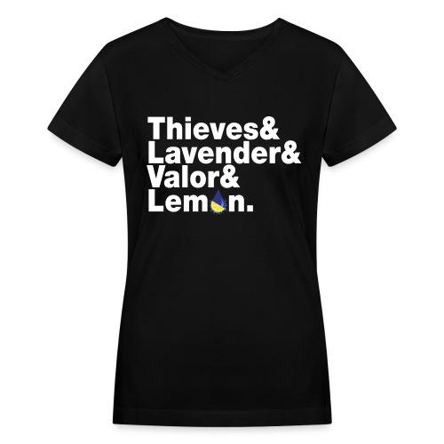 Thieves&Lavender&Valor&Lemon Women's V-Neck T-Shirt - Women's V-Neck T-Shirt