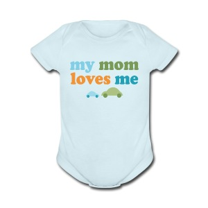 Retro Cars My Mom Loves Me - Short Sleeve Baby Bodysuit