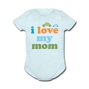 Retro Cars I Love My Mom - Short Sleeve Baby Bodysuit