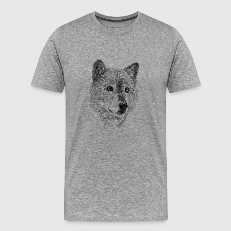 Wolf pencil drawing T-Shirts - Men's Premium T-Shirt