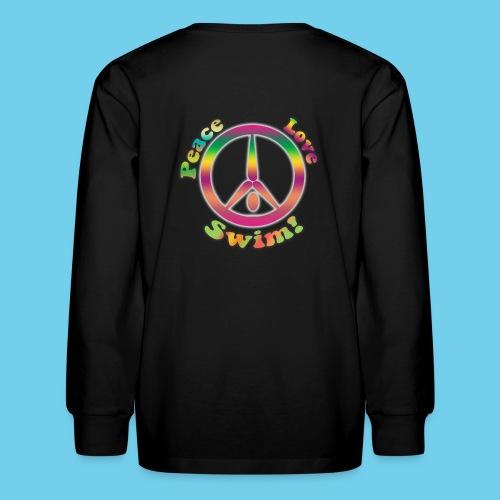 Peace, Love, Swim- Youth LS Tee - Kids' Long Sleeve T-Shirt