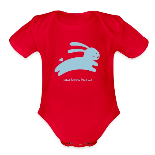 Blue Some Bunny Luvs Me   - Organic Short Sleeve Baby Bodysuit