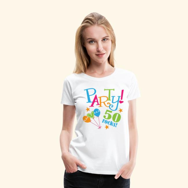 50th Birthday Party Womens T Shirt 50 Rocks