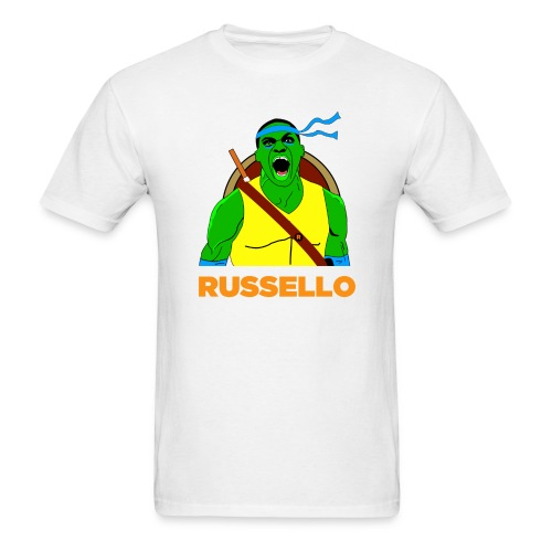Men's T-Shirt - Russello Oklahoma City Thunder Basketball fan apparel.  This shirt was created by fans, for fans. Great to wear to basketball games, pickup games, and as gym workout clothing. Please contact crownthirtyeight@gmail.com for inquiries!