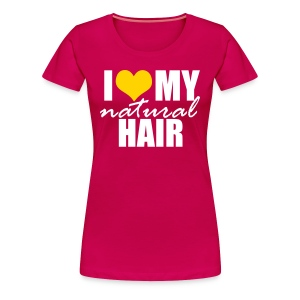 Hot Pink I Love My Hair T-shirt in Yellow - Women's Premium T-Shirt