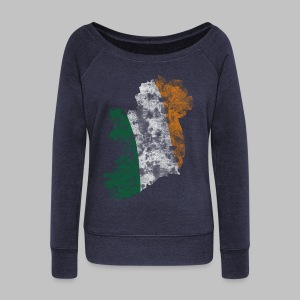 Ireland Flag Distressed - Women's Wideneck Sweatshirt