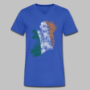 Ireland Flag Distressed - Men's V-Neck T-Shirt by Canvas