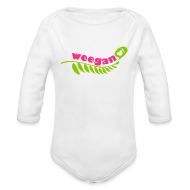 Baby Bodysuits ~ Baby Long Sleeve One Piece ~ Baby Weegan White