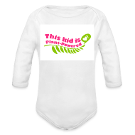 Baby Bodysuits ~ Baby Long Sleeve One Piece ~ Baby This Kid is Plant-Powered White