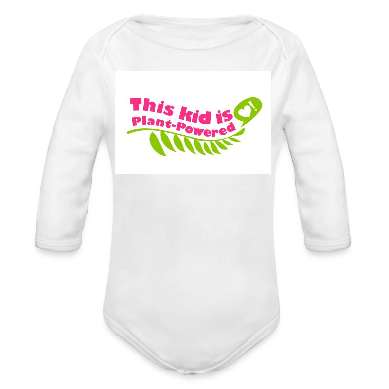 Baby This Kid is Plant-Powered White   - Long Sleeve Baby Bodysuit
