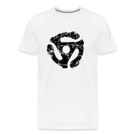 T-Shirts ~ Men's Premium T-Shirt ~ 45 R.P.M. Record Adaptor T-Shirt (Men White/Black)