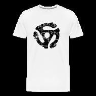 T-Shirts ~ Men's Premium T-Shirt ~ 45 R.P.M. Record Adaptor T-Shirt (Men White/Black)