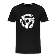 T-Shirts ~ Men's Premium T-Shirt ~ 45 R.P.M. Record Adaptor T-Shirt (Men Black/White)