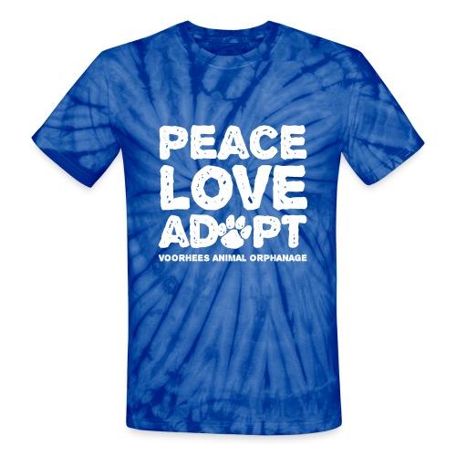 Peace, Love, Adopt Tee - Unisex Tie Dye T-Shirt
