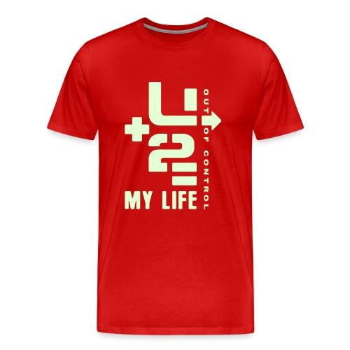 U+2=MY LIFE - back+front glow - s/5xl - multi colors - Men's Premium T-Shirt