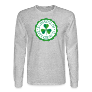 Long Sleeve Shirts ~ Men's Long Sleeve T-Shirt ~ Lucky Shamrock Badge - St. Patrick's Day