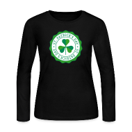 Long Sleeve Shirts ~ Women's Long Sleeve Jersey T-Shirt ~ Lucky Shamrock Badge - St. Patrick's Day