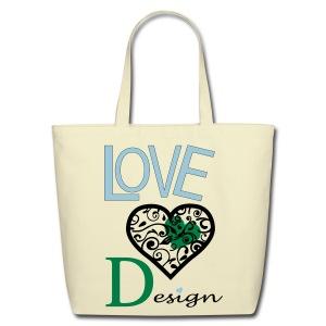 Love Design Green & Blue - Eco-Friendly Cotton Tote