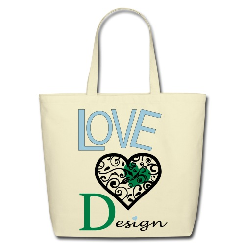 Love Design Green & Blue - Eco-Friendly Cotton Tote