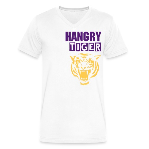 Hangry Tiger - Men's V-Neck T-Shirt by Canvas