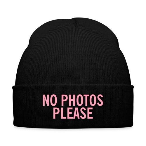 NO PHOTOS PLEASE BEANIE - Knit Cap with Cuff Print