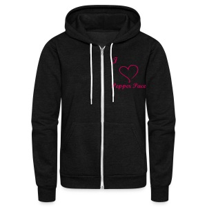 I heart Pepper Pace in magenta writing - Unisex Fleece Zip Hoodie by American Apparel