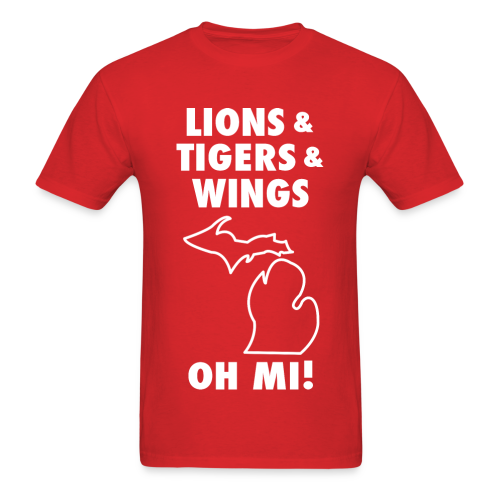 LIONS & TIGERS & WINGS, OH MI! white - Men's T-Shirt