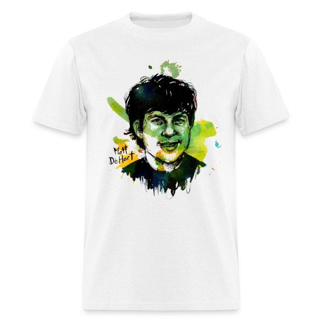 Molly Crabapple painting of Matt DeHart on T-Shirt
