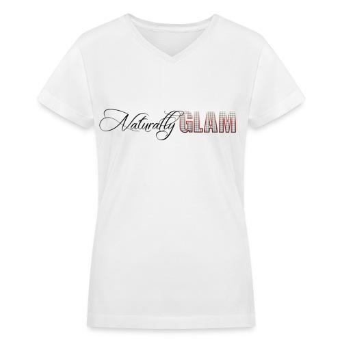 Black 'Naturally Glam' Short Sleeve V-neck Tee - Women's V-Neck T-Shirt