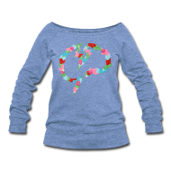 Long Sleeve Shirts ~ Women's Wideneck Sweatshirt ~ Women's Mindcrack Floral Sweatshirt