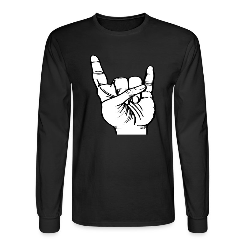 Rock roll hand sign t shirt spreadshirt for Rock and roll shirt shop