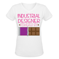 Women's T-Shirts ~ Women's V-Neck T-Shirt ~ Industrial Designer Womens T-shirt (Funny Chocolate)
