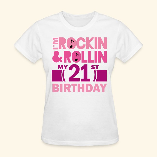 21st Birthday Womens T Shirt Rock N Roll