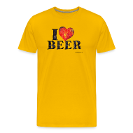 T-Shirts ~ Men's Premium T-Shirt ~ I Love Beer Distressed Men's Premium T-Shirt