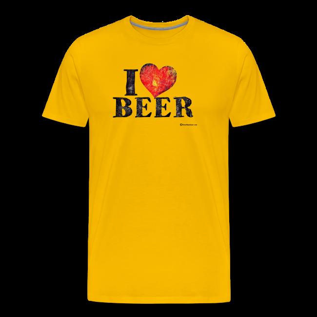I Love Beer Distressed Men's Premium T-Shirt