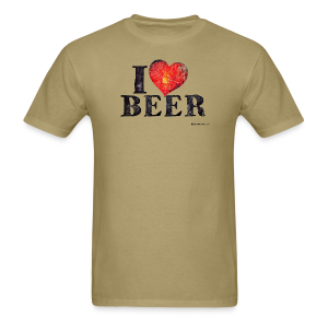 I Love Beer Distressed Men's T-Shirt  - Men's T-Shirt