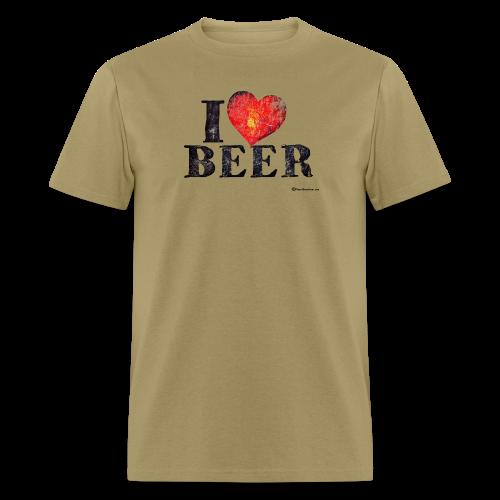 I Love Beer Distressed Men's T-Shirt  - Men's T-Shirt