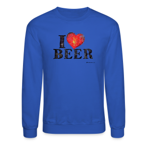 I Love Beer Distressed Men's Crewneck Sweatshirt  - Crewneck Sweatshirt