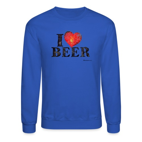 I Love Beer Distressed Men's Crewneck Sweatshirt  - Crewneck Sweatshirt